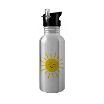 Happy sun, Stainless steel παγούρι ποδηλάτου ασημένιο με καλαμάκι (Stainless steel) 600ml