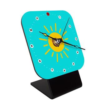 Happy sun, Επιτραπέζιο ρολόι ξύλινο με δείκτες (10cm)