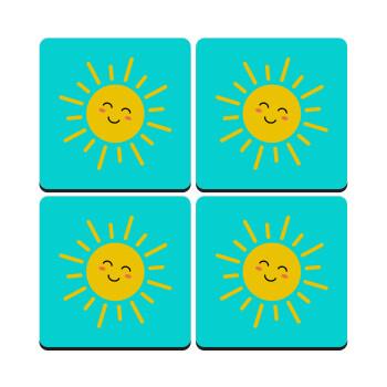 Happy sun, ΣΕΤ 4 Σουβέρ ξύλινα τετράγωνα