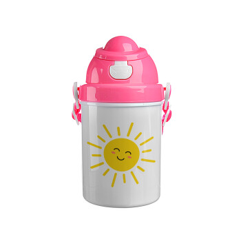 Happy sun, Ροζ παιδικό παγούρι πλαστικό με καπάκι ασφαλείας, κορδόνι και καλαμάκι, 400ml