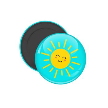 Happy sun, Μαγνητάκι ψυγείου στρογγυλό διάστασης 5cm