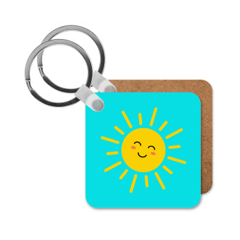 Happy sun, Μπρελόκ Ξύλινο τετράγωνο MDF 5cm (3mm πάχος)