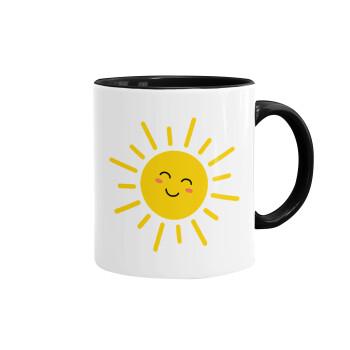 Happy sun, Κούπα χρωματιστή μαύρη, κεραμική, 330ml