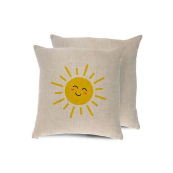Happy sun, Μαξιλάρι καναπέ ΛΙΝΟ 40x40cm περιέχεται το γέμισμα