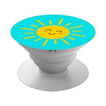 Happy sun, Pop Socket Λευκό Βάση Στήριξης Κινητού στο Χέρι