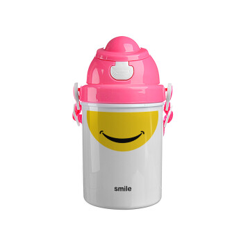Smile Mug, Ροζ παιδικό παγούρι πλαστικό με καπάκι ασφαλείας, κορδόνι και καλαμάκι, 400ml