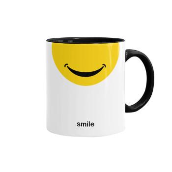 Smile Mug, Κούπα χρωματιστή μαύρη, κεραμική, 330ml