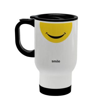 Smile Mug, Κούπα ταξιδιού ανοξείδωτη με καπάκι, διπλού τοιχώματος (θερμό) λευκή 450ml