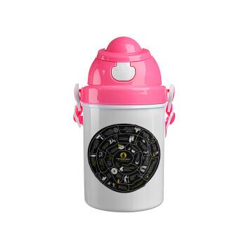 Προχίστορας, Ροζ παιδικό παγούρι πλαστικό με καπάκι ασφαλείας, κορδόνι και καλαμάκι, 400ml