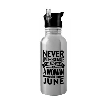 Never Underestimate the poer of a Woman born in..., Stainless steel παγούρι ποδηλάτου ασημένιο με καλαμάκι (Stainless steel) 600ml