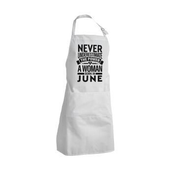 Never Underestimate the poer of a Woman born in..., Ποδιά μαγειρικής BBQ Ενήλικων