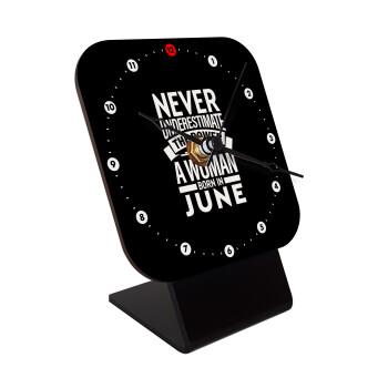 Never Underestimate the poer of a Woman born in..., Επιτραπέζιο ρολόι ξύλινο με δείκτες (10cm)