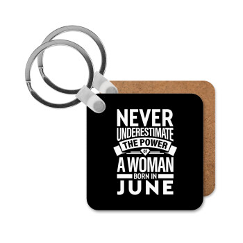 Never Underestimate the poer of a Woman born in..., Μπρελόκ Ξύλινο τετράγωνο MDF 5cm (3mm πάχος)