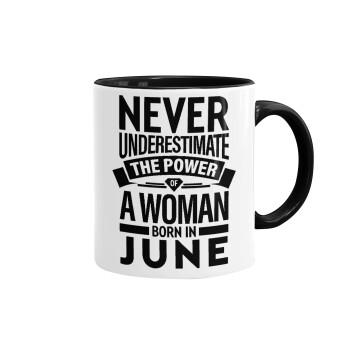 Never Underestimate the poer of a Woman born in..., Κούπα χρωματιστή μαύρη, κεραμική, 330ml