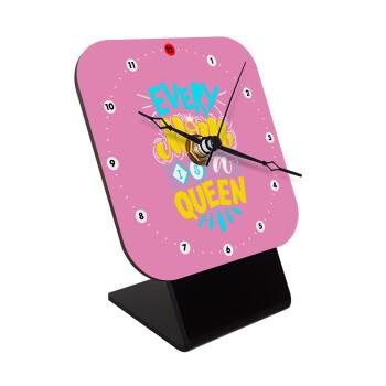 Every mom is a Queen, Επιτραπέζιο ρολόι ξύλινο με δείκτες (10cm)