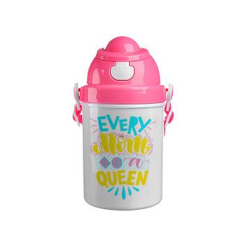 Every mom is a Queen, Ροζ παιδικό παγούρι πλαστικό με καπάκι ασφαλείας, κορδόνι και καλαμάκι, 400ml