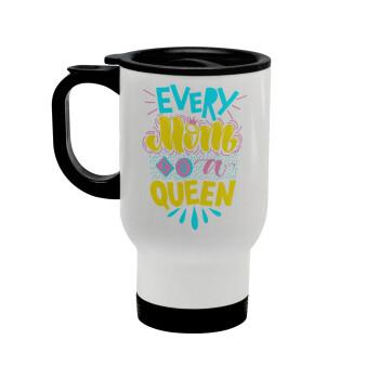 Every mom is a Queen, Κούπα ταξιδιού ανοξείδωτη με καπάκι, διπλού τοιχώματος (θερμό) λευκή 450ml