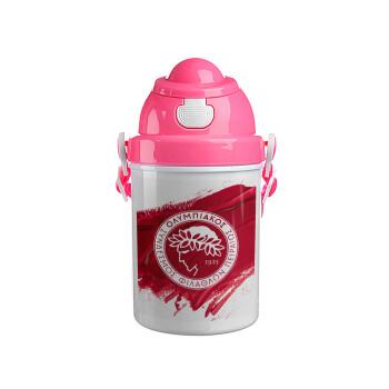 Olympiacos F.C., Ροζ παιδικό παγούρι πλαστικό με καπάκι ασφαλείας, κορδόνι και καλαμάκι, 400ml