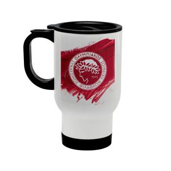 Olympiacos F.C., Κούπα ταξιδιού ανοξείδωτη με καπάκι, διπλού τοιχώματος (θερμό) λευκή 450ml