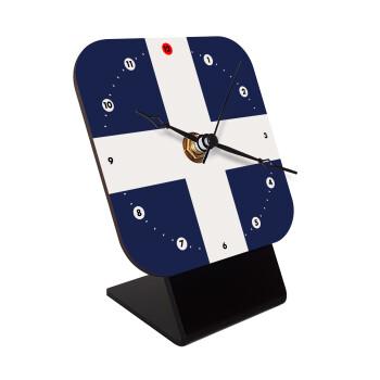 Ελληνική σημαία, Hellas, Επιτραπέζιο ρολόι ξύλινο με δείκτες (10cm)
