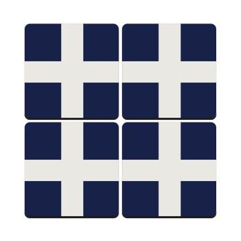 Ελληνική σημαία, Hellas, ΣΕΤ 4 Σουβέρ ξύλινα τετράγωνα