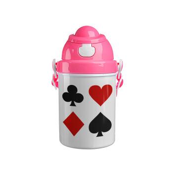 Τραπουλόχαρτα, Ροζ παιδικό παγούρι πλαστικό με καπάκι ασφαλείας, κορδόνι και καλαμάκι, 400ml