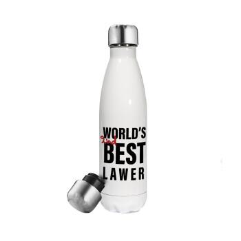 2nd, World Best Lawyer , Μεταλλικό παγούρι θερμός Λευκό (Stainless steel 304), διπλού τοιχώματος, 500ml