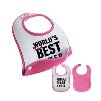 2nd, World Best Lawyer , Σαλιάρα μωρού Ροζ κοριτσάκι, 100% Neoprene (18x19cm)