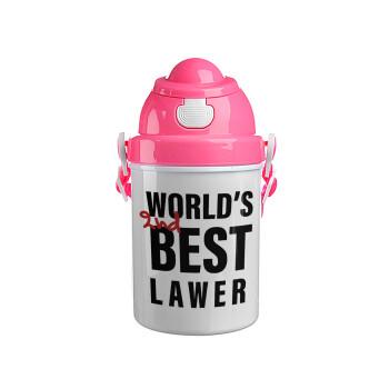 2nd, World Best Lawyer , Ροζ παιδικό παγούρι πλαστικό με καπάκι ασφαλείας, κορδόνι και καλαμάκι, 400ml
