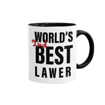 2nd, World Best Lawyer , Κούπα χρωματιστή μαύρη, κεραμική, 330ml