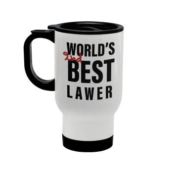 2nd, World Best Lawyer , Κούπα ταξιδιού ανοξείδωτη με καπάκι, διπλού τοιχώματος (θερμό) λευκή 450ml
