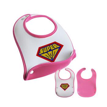 Super Dad 3D, Σαλιάρα μωρού Ροζ κοριτσάκι, 100% Neoprene (18x19cm)