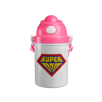 Super Dad 3D, Ροζ παιδικό παγούρι πλαστικό με καπάκι ασφαλείας, κορδόνι και καλαμάκι, 400ml