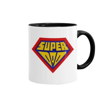 Super Dad 3D, Κούπα χρωματιστή μαύρη, κεραμική, 330ml