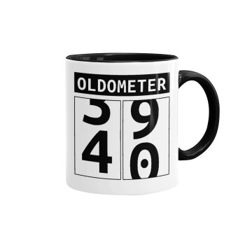 OLDOMETER, Κούπα χρωματιστή μαύρη, κεραμική, 330ml