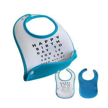 EYE tester happy birthday., Σαλιάρα μωρού Μπλε αγοράκι, 100% Neoprene (18x19cm)