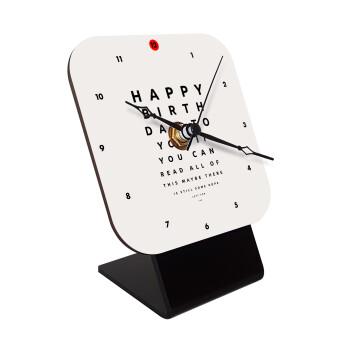 EYE tester happy birthday., Επιτραπέζιο ρολόι ξύλινο με δείκτες (10cm)