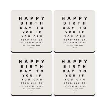 EYE tester happy birthday., ΣΕΤ 4 Σουβέρ ξύλινα τετράγωνα