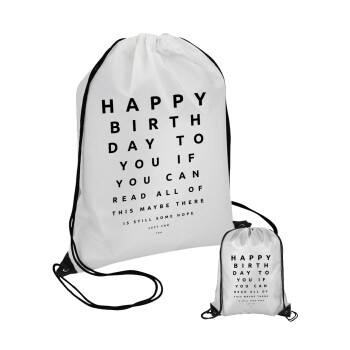 EYE tester happy birthday., Τσάντα πουγκί με μαύρα κορδόνια 45χ35cm (1 τεμάχιο)