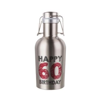 Happy 60 birthday!!!, Μεταλλικό παγούρι Inox (Stainless steel) με καπάκι ασφαλείας 1L