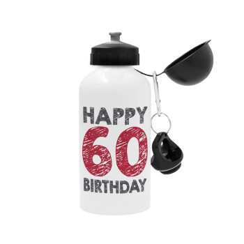 Happy 60 birthday!!!, Μεταλλικό παγούρι ποδηλάτου Λευκό 500ml