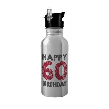 Happy 60 birthday!!!, Stainless steel παγούρι ποδηλάτου ασημένιο με καλαμάκι (Stainless steel) 600ml