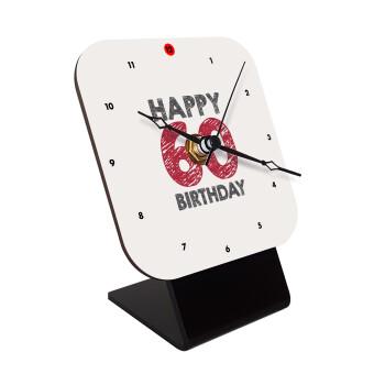 Happy 60 birthday!!!, Επιτραπέζιο ρολόι ξύλινο με δείκτες (10cm)