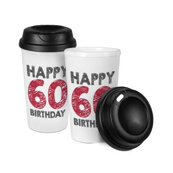 Happy 60 birthday!!!, Κούπα ταξιδιού πλαστικό (BPA-FREE) με καπάκι βιδωτό, διπλού τοιχώματος (θερμό) 330ml (1 τεμάχιο)