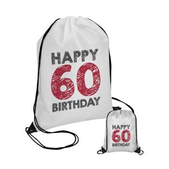 Happy 60 birthday!!!, Τσάντα πουγκί με μαύρα κορδόνια 45χ35cm (1 τεμάχιο)