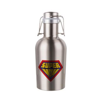 Super Mom 3D, Μεταλλικό παγούρι Inox (Stainless steel) με καπάκι ασφαλείας 1L