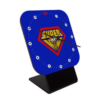 Super Mom 3D, Επιτραπέζιο ρολόι ξύλινο με δείκτες (10cm)