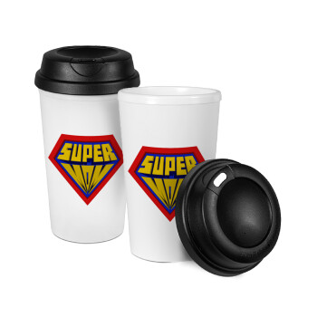 Super Mom 3D, Κούπα ταξιδιού πλαστικό (BPA-FREE) με καπάκι βιδωτό, διπλού τοιχώματος (θερμό) 330ml (1 τεμάχιο)