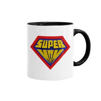Super Mom 3D, Κούπα χρωματιστή μαύρη, κεραμική, 330ml