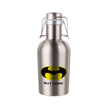 Buttman, Μεταλλικό παγούρι Inox (Stainless steel) με καπάκι ασφαλείας 1L